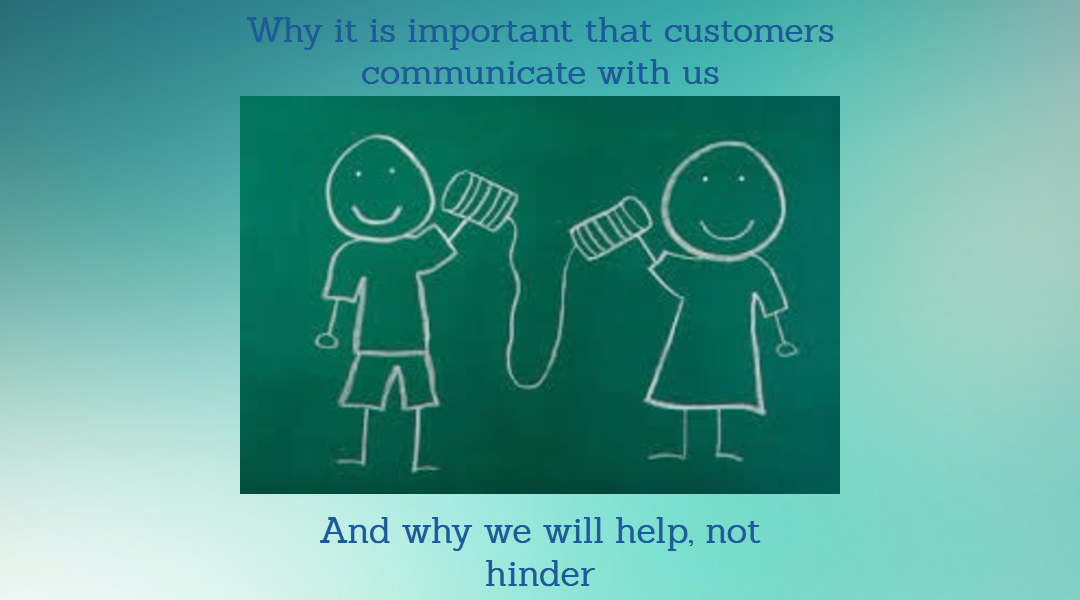 The importance of customers contacting us about payments